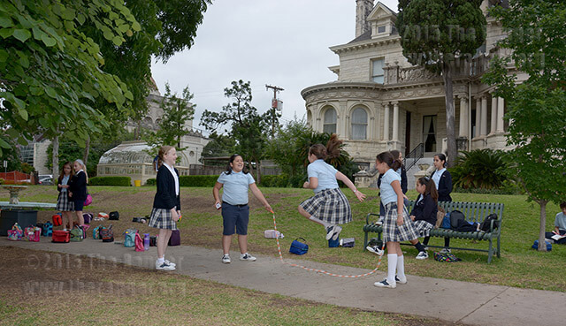 Fifth grade students from Great Hearts Monte Vista play during recess today at Koehler. Teacher Rose Sweeney said the school has a deal with this college to use the playground. Photo by Neven Jones