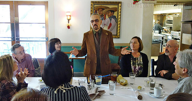 Professor Emeritus Richard Arredondo entertains several faculty members at his retirement party Jan. 13 at La Fonda on Main. Arredondo was awarded Adviser of the Year at a student leadership banquet on April 15.