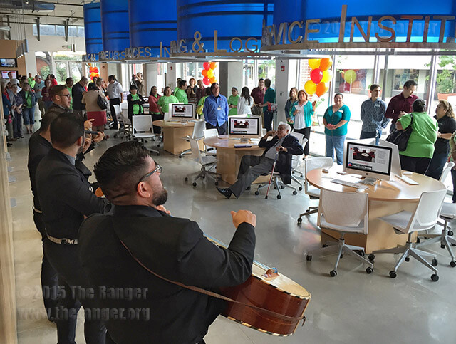 "Mariachi Nuevo Estilo performs a cover of Bruno Mars' ""Uptown Funk"" at the grand opening of the Welcome Center May 22. Photo by E. David Guel"