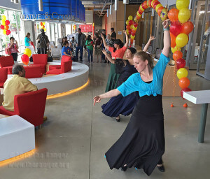 Dance freshman Laura Adams, dance graduate Michelle Badillo and accounting sophomore Jenny Camacho perform a flamenco routine at the grand opening of the Welcome Center May 22. Photo by E. David Guel
