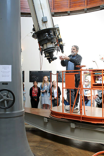Brother Guy Consolmagno gives a demonstration of the telescope at the Vatican Observatory in Castel Gandolfo, Italy.  Courtesy