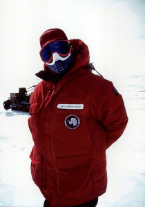 Brother Guy Consolmagno participated in a 1996 expedition to search for meteorites on the blue ice of Antarctica.  Courtesy