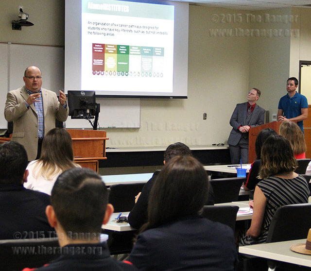 President Robert Vela explains the Alamo Institutes model to faculty, staff and students June 9 in Room 218 of the nursing complex. The model is designed to help align academic and career pathways for students in the Alamo Colleges. Photo by Cynthia M. Herrera