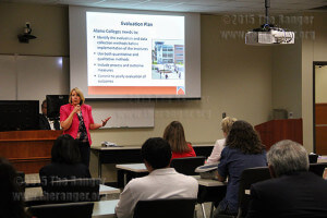 Kris Clark, chief of integrated planning and performance excellence at this college, explains the evaluation plan of the Alamo Institutes Tuesday in Room 218 of the nursing complex . Photo by Cynthia M. Herrera