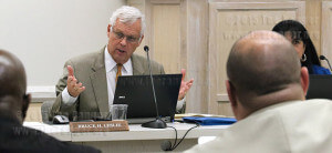 Chancellor Bruce Leslie addresses trustees about the Contractor Partner Educaton Program during a regular board meeting May 19 in Killen. The program will assist Alamo Colleges contractors with educational opportunities including assistance with financial aid. Photo by E. David Guel