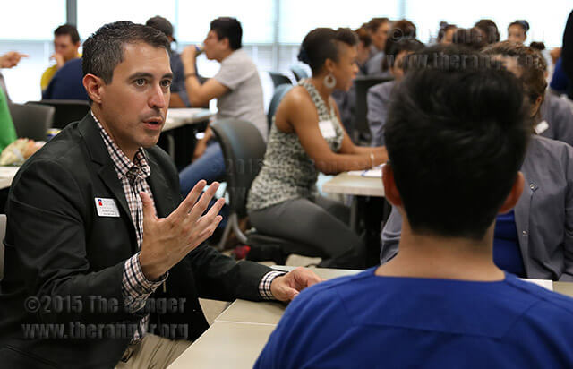 Richard Farias, interim dean of student success, was photographed at the Student Dialogue and Listening Forum Sept. 16 in Room 208 of the nursing complex. Photo by Danielle Kelly