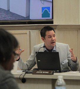 Former student trustee Jacob Wong speaks Feb. 3 at a board meeting in Killen. File