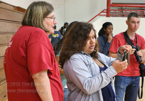 Tricia Buckhhorn, journalism lab technician and Ranger adviser, shows Hannah Diaz, East Central High School senior, different photographing techniques Sept. 18 in Candler during Charting Your Course Workshop held by journalism program. Photo by Katelynn Alexa Garcia
