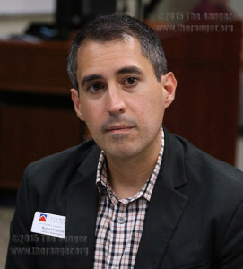Richard Farias, interim dean of student success, photographed at the Student Dialogue and Listening Forum Sept. 16 in Room 208 of the nursing complex. Photo by Danielle Kelly