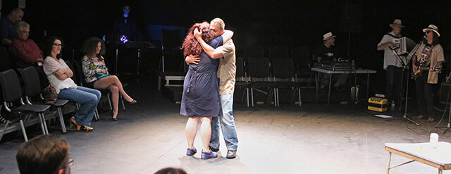 La Luz de San Anton at Northwest Vista starts Hispanic History month Wednesday Sept. 16 in the Black Box Theatre at Northwest Vista. Cowriter, Head of Drama Department and actress Melissa Marlowe starred in the play accompanied by Salvador Valadez to portray a love story facing interracial couples and the struggles of love. Photo by L. Hillary Melton