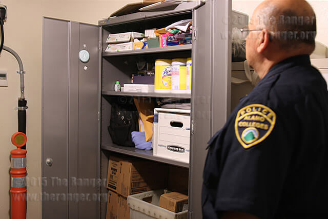 Deputy Chief Joe Pabon shows the utility closet where stolen and lost property is placed at this college's DPS station at 1601 N. Main. Pabon said the closet was full Sept. 9. Photo by Kyle R. Cotton