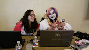 Business administration sophomore Sylvia Bolles, left, and member Christina Gonzalez, right, lead a Gamers Without Joysticks panel, Girl Got Game! An Abridged History of Female Characters in Video Games on Aug. 1 at San Japan: 8 Bit at the Henry B. Gonzalez Convention Center. Bolles is one of the founding members of the group. Courtesy Photo