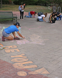 "Biology pre-professional freshman Celeste Canalez chalks up the words ""Today is the day"" for Chalk Day Oct. 5 between Loftin and the chemistry and geology building. Canalez wrote that to ecourage everybody to do something good today. ""Chalk Day"" was held by The Ranger sponsored Chalk Day to celebrate freedom of speech. Photo by TiffanyAnne Bermea"