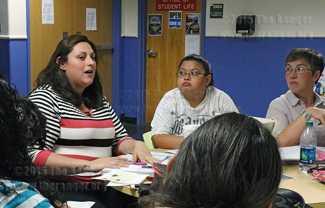 Ann Marie Hessbrook, president of the Autism Awareness Club and vice president of Phi Theta Kappa, discusses SACtacular and Antojitos with Catherine Dominguez, PTK scholarship vice president and PTK secretary Veronica Jones during a Club Council meeting Sept. 24 in Loftin. Photo by Katelynn Alexa Garcia