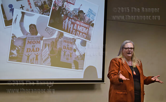 Dr. Vicky Elias, sociology professor at Texas A&M University-San Antonio, talks about the dramatic changes in modern marriage Tuesday in Chance as part of Coming Out Week at this college. Photo by Cassi Armstrong