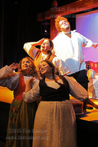"Actors from ""The Servant of Two Masters"" strike a silly pose before the 7:30 p.m. show Oct. 15. Lauren Hunt, far left, Dalissa Roman, Grace Taylor and Brian Hill are able to juggle school, work, families, social lives and hobbies while still performing onstage. ""The Servant of Two Masters"" is 7:30 p.m. Oct. 15 and 16 and 2:30 p.m. Oct. 18. Photo by Melissa Luna"