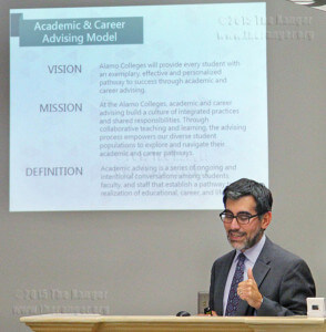 Dr. Mike Flores, president of Palo Alto College, says faculty advisers work closely with students when they use the academic and career advising model. Flores presented the model at the Academic Accountability and Student Success Committee meeting Tuesday in Killen. Rebecca Salinas