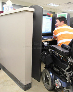 Psychology freshman Josue Estrada uses the lab for students enrolled in disability support services Wednesday on the first floor of Moody. DSS technical assistant Terrence Jones said the concrete wall prevents future expansion. Katherine Garcia