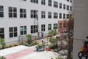 Contractors finish the exterior walls and pool area of Tobin Lofts at West Evergreen and North Main Aug. 26. Daniel Arguelles
