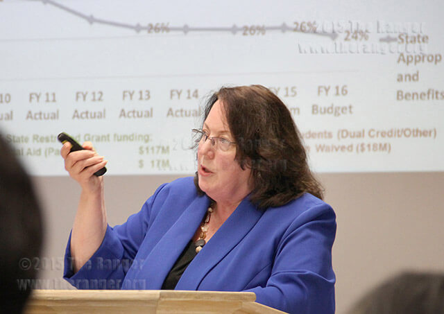 Diane Snyder, associate vice chancellor for finance and administration, presents the amended 2016-17 budget to the board Oct. 27, 2015.  File