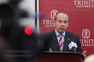 Former Mexican President Felipe Calderón praised his country's competiveness in the global market in his remarks Marhc 21 at Trinity University. Vincent Reyna