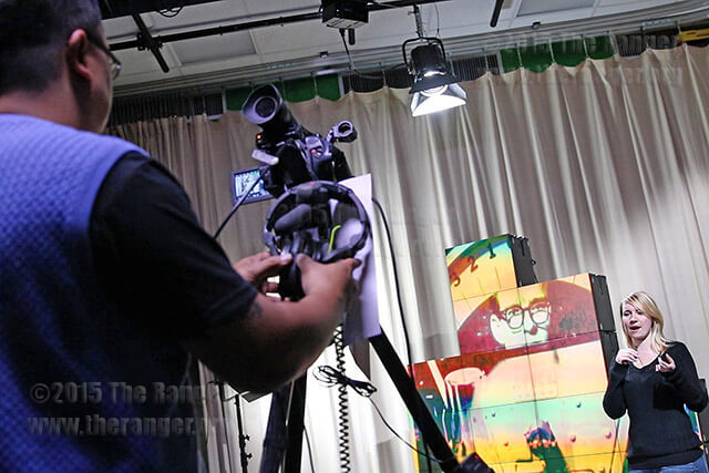 Multimedia specialist Jason Ucab uses new lighting equipment to record Harley Williams, president of this college's Student Government Association, in the renovated inTV studio Nov. 4 in Room 632 of Moody. Photo by Hillary E. Ratcliff