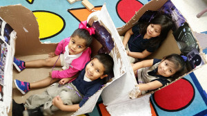 Children in Graciela Arizmendi's Head Start class at Carvajal Early Childhood Education Center sit in a spaceship they made in preparation for their Micronaut mission in April. Courtesy Photo