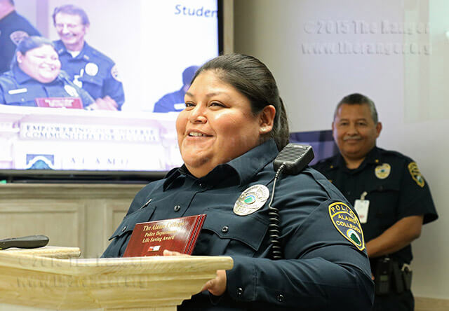 Alamo campus police officer Mary Ramirez recieves a Life Saving award Oct. 27 in Killen. Her quick actions helped saved the life of 22-year old Aaron Beaugard, when he was involved in a motorcycle accident near Northwest Vista. Photo by Katelynn Alexa Garcia