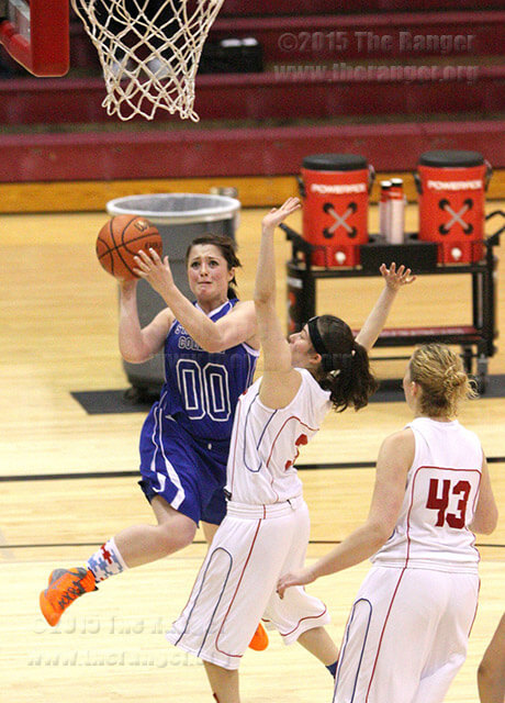 Kinesiology sophomore Jen Dye shoots from the side against Southwest Texas April 6 in McDermott at Incarnate Word.