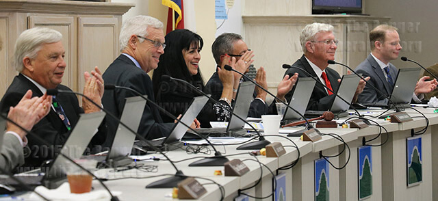 Trustees applaud after Chancellor Bruce Leslie announces Northwest Vista was ranked No. 2 of the best two-year colleges in Texas by BestColleges.com. Other  topics of the regular board meeting Dec. 15 included unanimous votes on an agreement with Craig Follins, former Northeast Lakeview president, and adding bachelor degree authorization to the administration's legislative agenda.  Photo by Danielle Kelly