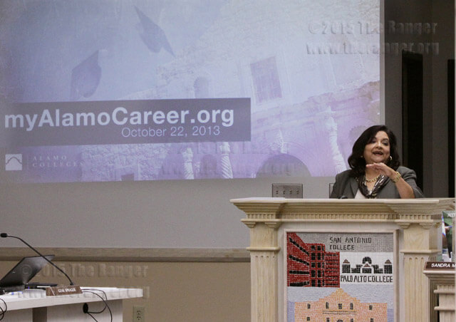 Dr. Adelina S. Silva, vice chancellor of student success, introduces the myAlamoCareer.org, a virtual career center, at the regular board meeting Tuesday. The virtual center is for individuals seeking information such as availability, potential employment or simply knowledge of their chosen career path.  Casey Alcala