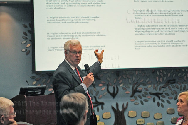 Chancellor Bruce Leslie asked trustees and independent school district officials to choose strategies during a special board meeting Wednesday.  Daniel Arguelles