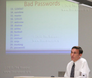 Dr. Thomas S. Cleary, vice chancellor for planning, performance and information systems, discusses common insecure passwords Sept. 10. See list online at TheRanger.org.  Daniel Arguelles