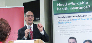 Thomas Perez, U.S. Secretary of Labor, speaks about the importance of local government during the Affordable Healthcare forum Monday in nursing complex.  Michael Peters