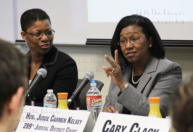 Judge Carmen Kelsey talks about how hard it was for her to get in to law school and tells students not to let their race affect their goals Wednesday in Room 218 of the nursing complex.  Monica Correa