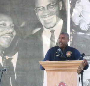 Chief Charles N. Hood of the San Antonio Fire Department speaks at the 29th annual Martin Luther King Day Jr. commerative ceremony Monday in Pittman-Sullivan Park. Hood said that he is one of the seven out of ten African-American fire chiefs in America. Photo by Hilllary E. Ratcliff