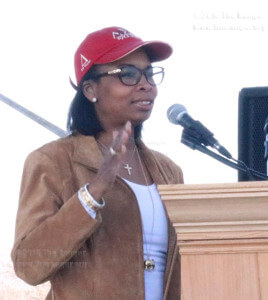 Mayor Ivy Taylor speaks at the commemorative ceremony for the Martin Luther King Jr. Day Monday in Pittman-Sullivan Park. Taylor is the first African-American woman to be mayor in San Antonio. Photo by Hillary E. Ratcliff