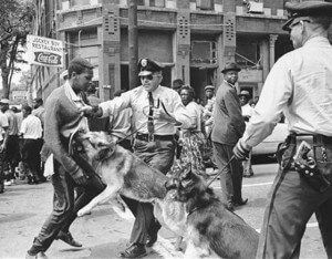 A civil rights demonstrator is attacked by a police dog May 3, 1963 at Birmingham, Ala. Photographers must remain observers to accurately document the news.  AccuNet/AP