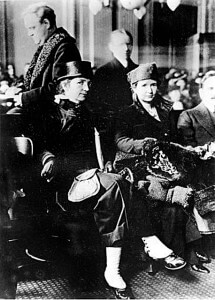 """Women's rights advocate Margaret Sanger, left, and her sister, Ethel Byrne, are shown in court in January 1917. Sanger was charged with maintaining a """"public nuisance"""" after opening the first birth-control clinic in the United States in Brooklyn, N.Y.  AccuNet/AP"""