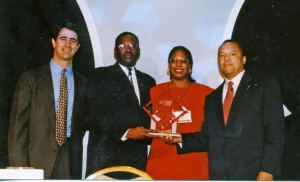 John Sanders and Beverly Watts Davis represent San Antonio Fighting Back and receive Coalition of the Year Award.  Courtesy