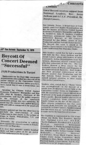 John Sanders leads a local boycott of Jam Productions in 1979 that received support from the Rev. Jesse Jackson.  Courtesy