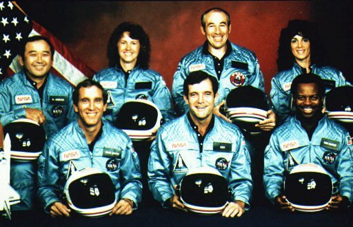 The seven astronauts who died in the explosion of the shuttle Challenger.  AP/AccuNet