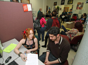 Nursing sophomore Vanessa Howe tutors accounting freshman Mohammed Elqunaibi Wednesday in Room 203 of Gonzales.  Vincent Reyna