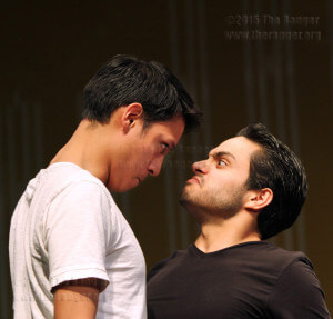 Frank Verseti, played by theater sophomore Jeremy Carrizales, bumps chests with Theo Maske, played by theater sophomore Alan Galvez.  Vincent Reyna