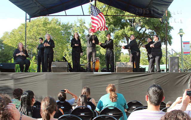 The American Sign Language glee club sings the national anthem during SACtacular Oct. 4 in the mall.  Marie Sullins