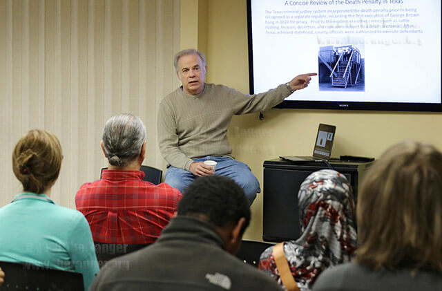 Criminal justice Professor Marshall Lloyd talks about the history of the death penalty in Texas Feb. 16 at the Methodist Student Center's Hot Potato lecture. Lloyd explained how previous executions were carried out in public. Photo by Ryann Palacios