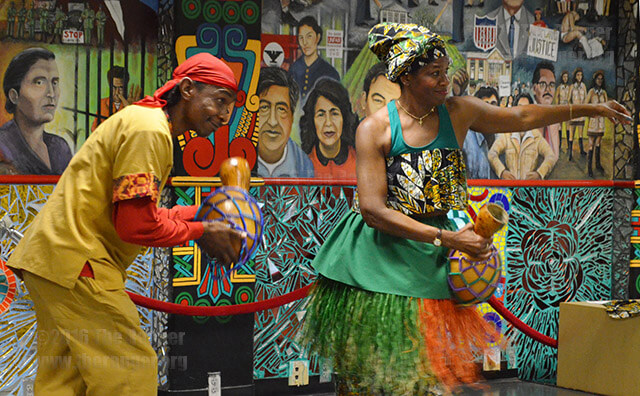 T-Bow Gonzales and Deirdre Lacour dance and play the shekere gourd during the African Festival Feb. 2014. File