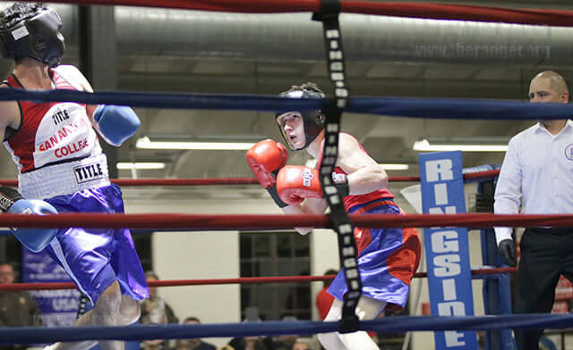 Nicolas Ramirez from Ramos Boxing Team begins to attack nursing sophomore Alfred Serna during the Golden Gloves tournament Tuesday at Woodlawn Gym. Photo by Alejandro Diaz