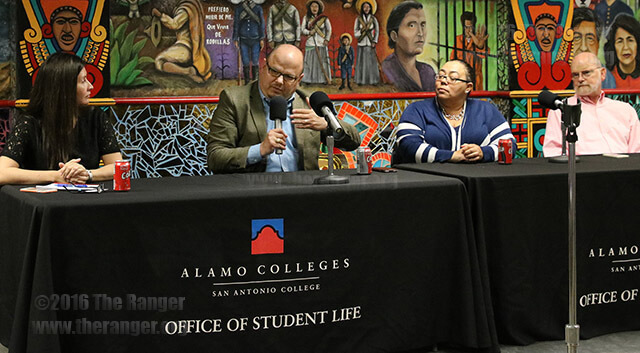 """""""There are times when you want to cry, there are times when you want to scream and there are times when you want to laugh because you are so happy,"""" President Robert Vela said of student emotions. Vela addressed concerns at Pizza with the President Wednesday in the Fiesta Room.  Photo by Tiffany Anne Bermea"""