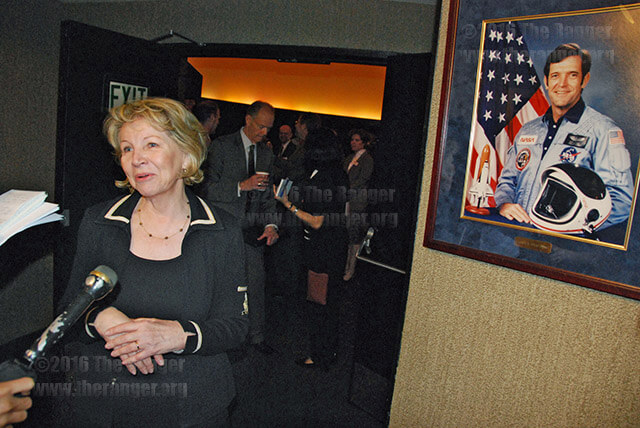 "June Scobee, wife of Francis R. ""Dick"" Scobee and founder of the Challenger Center for Space Science Education, speaks to reporters in April 2010 in the Scobee Planetarium. Scobee visited to discuss the possibility of relocating the center to this college.  File"